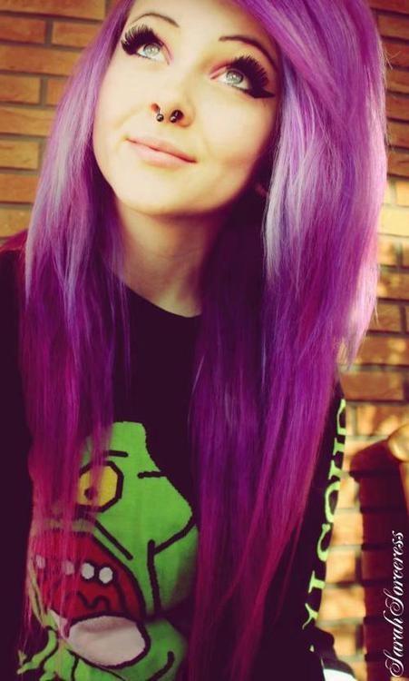 Purple Hair And Septum Piercing Scene Girl Hair Purple