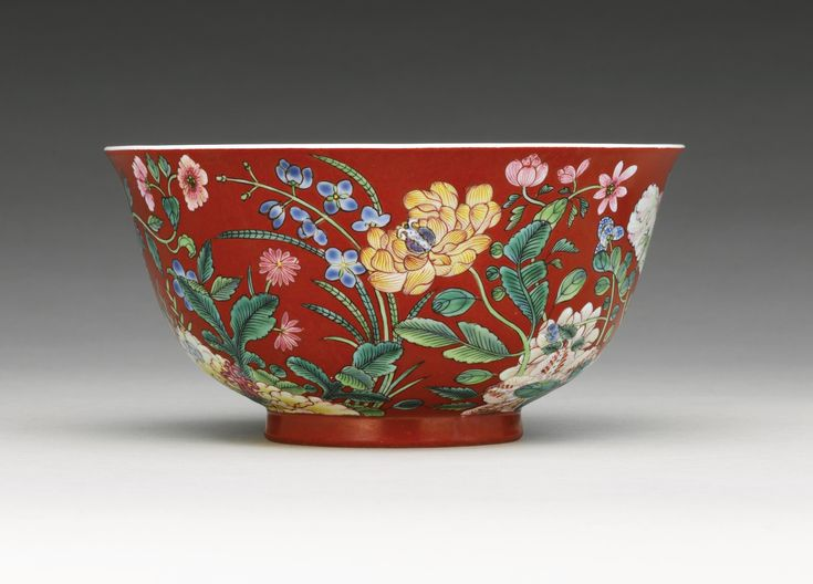 A FINE AND RARE CORAL-GROUND FAMILLE ROSE FLORAL BOWL YONGZHENG MARK AND PERIOD
