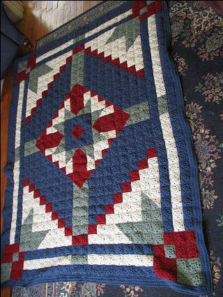 Good idea for a pieced quilt, Happy Yellow House.com - Desert Star Crochet Quilt - by C. L. Halvorson ~ free pattern