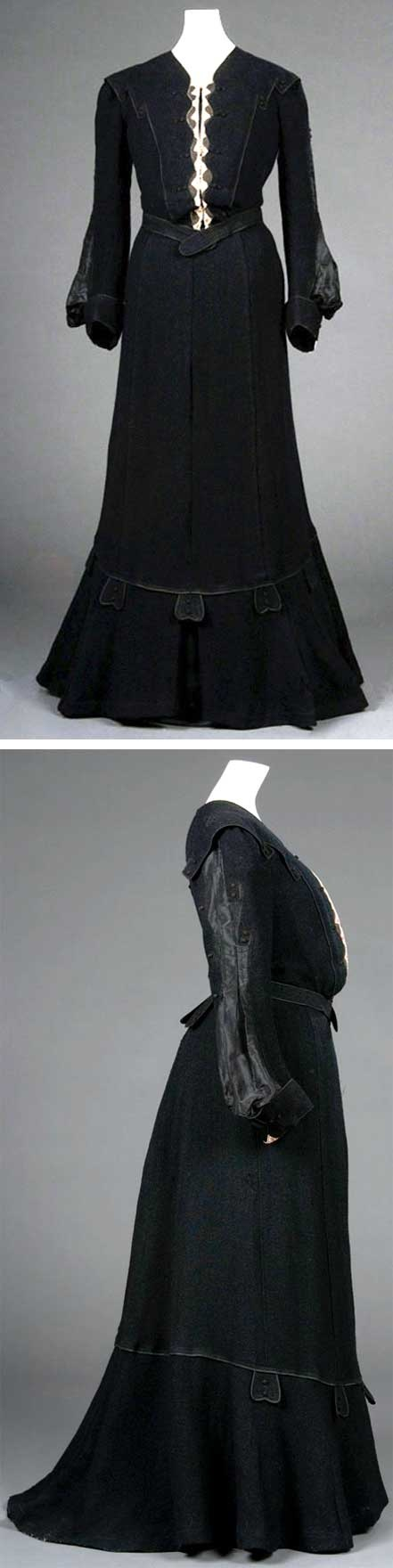 Two-piece black dress, ca. 1902-1904.  Wool and silk. FIDM Museum