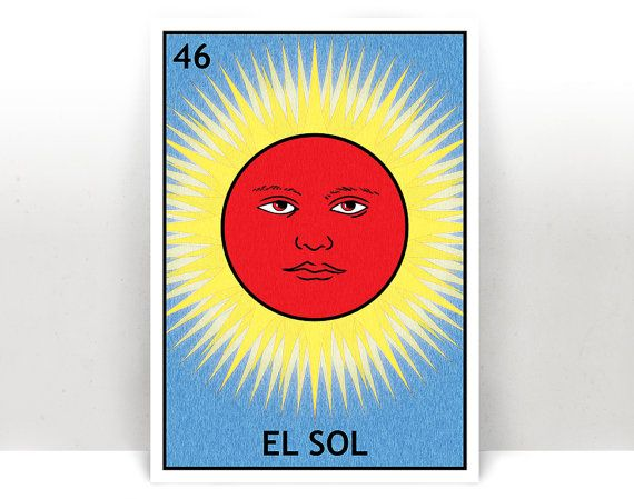 El Sol Lotería - The Sun Mexican Bingo Art Print - Poster - Many Sizes