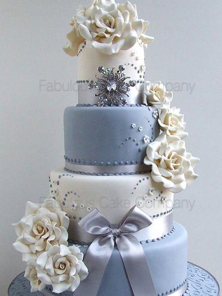 wedding fabolous cakes   Contemporary Ivory & Grey Wedding Cake Fabulous Cake Company