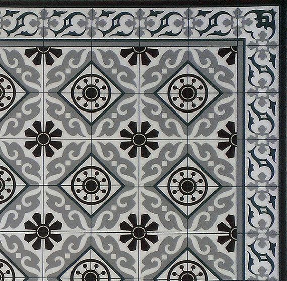 FREE SHIPPING Tiles Pattern Decorative PVC vinyl mat by videcor