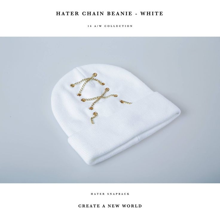 HATer Chain Beanie - White   #HATERBEANIE #HATERCHAINBEANIE #CHAIN #BEANIE #CHAINBEANIE #WHITEBEANIE #WHITE #HATERSNAPBACK #FASHION #STREETFASHION #TRENDY #STYLISH #STREETWEAR