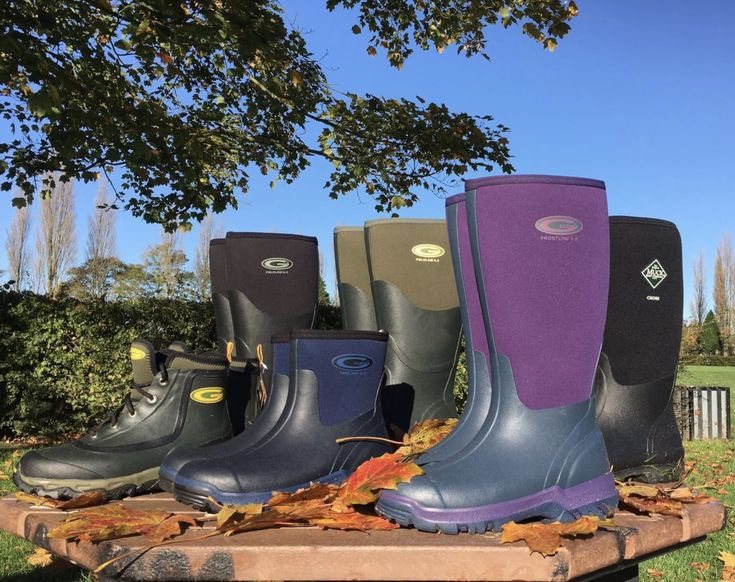 Selection of our Grubs Range in the Autumn sun. view our range of Boots in our showroom