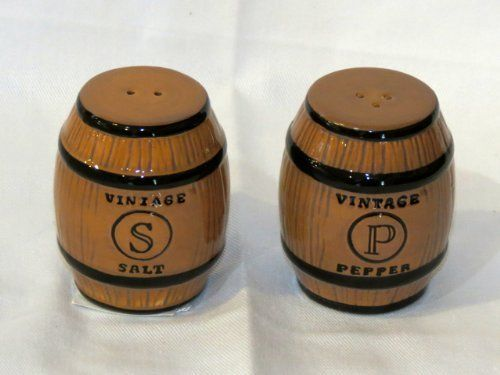 """Grasslands Road Meritage Wine Barrel Salt & Pepper Holders Set 469488 by Grasslands Road. $9.75. 2.5"""" tall x 1.5"""" round each.. Real cute salt and pepper shakers shaped like vintage wine barrels.. Dishwasher and food safe.. Part of the Meritage pattern line of Grasslands Road.. Perfect for your bar area.. Very cute ceramic salt and pepper shaker set, shaped like vintage wine barrels. Dishwasher safe."""