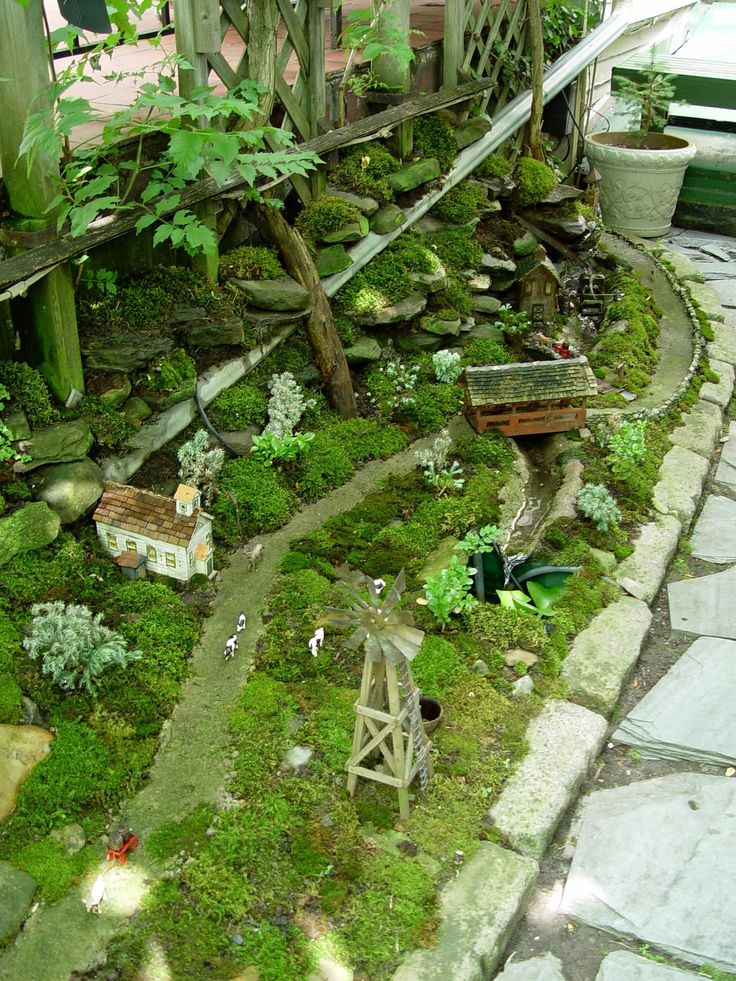 Miniature+Fairy+Gardens | View full size An outdoor mini garden with a railway feature. George ...