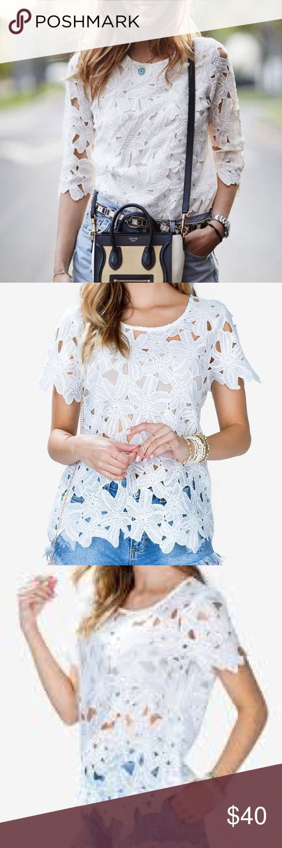 White Crochet Sheer Floral Short Sleeve Top White Floral Crochet Short Sleeve Top with Scalloped Edges  Sheer Crew neck Short sleeves Crochet construction Scalloped finished edges  60% cotton, 40% polyester Dry clean only  * Brand New Without Tags Tops Tees - Short Sleeve