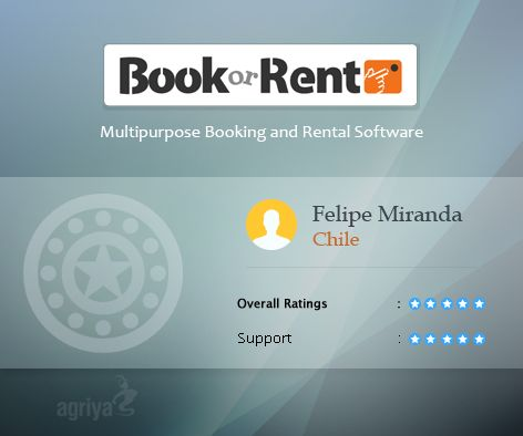 """A 5 star review for BookorRent   A word from Felipe Miranda about Agriya's #Booking and #Rentalsoftware  """"Excellent On time and well installed.""""  For more BookorRent reviews: http://customers.agriya.com/products/bookorrent/reviews"""