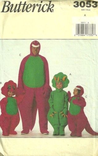 80s Butterick 3053 Dinosaur Barney  Costume Pattern Halloween costume sewing pattern | PatternGate - Craft Supplies on ArtFire