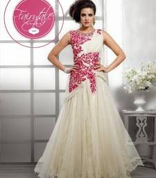 Buy white embroidered net semi stitched party-wear-gowns party-wear-gown online