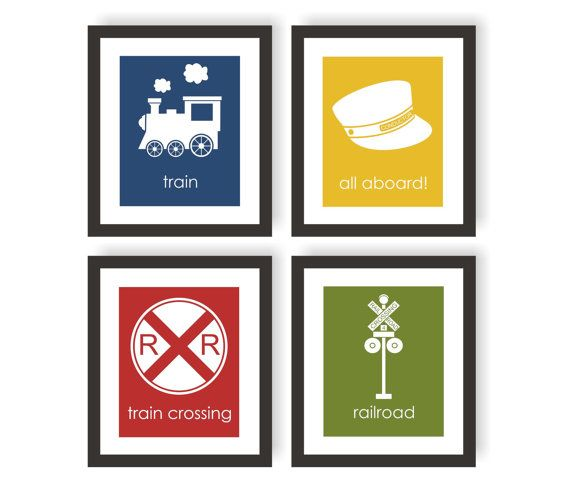 Train Nursery Art  Set of 4  CHOOSE COLOR Kids by twowhiteowls, $36.00