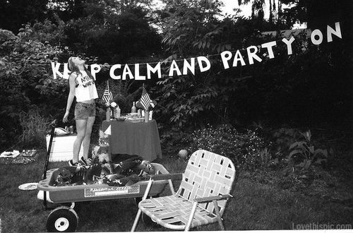 Keep calm and party on photography black and white party girl outdoors trees hipster