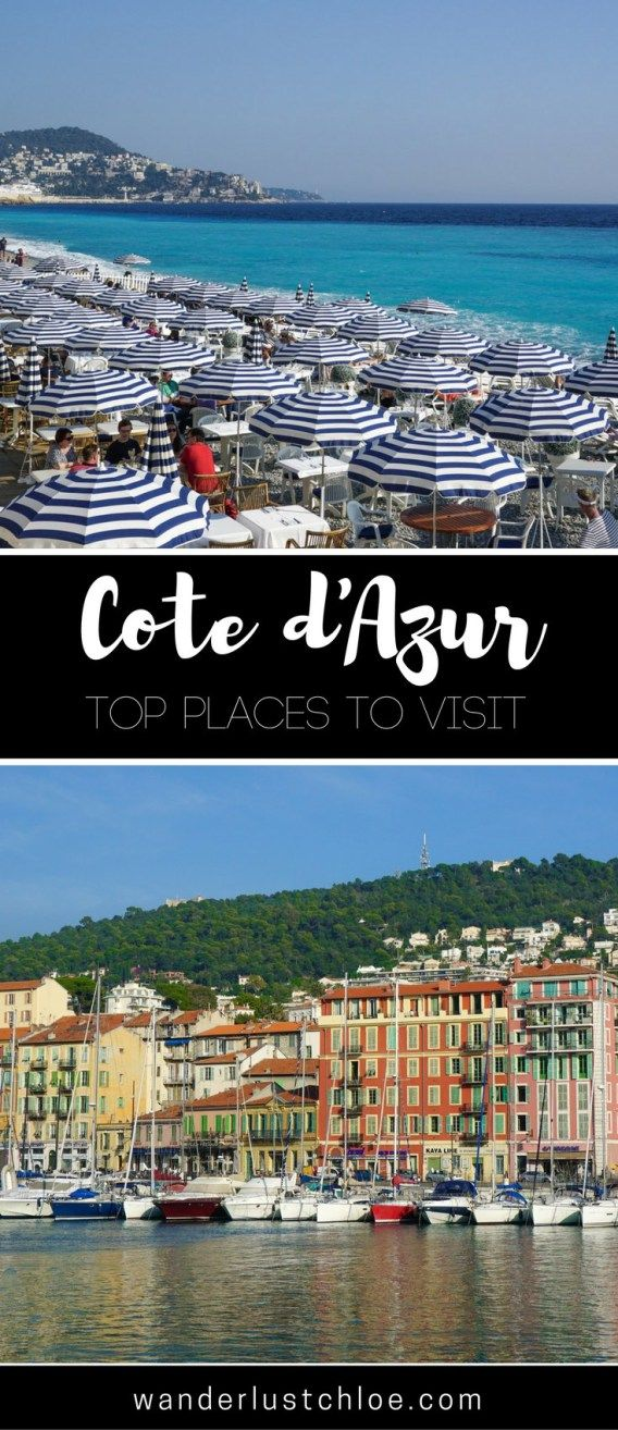 Top Places To Visit In The Cote D'Azur. From Saint Tropez to Nice, it's time for a tour of the Côte d'Azur! #france #travel #cotedazur #nice #sttropez #cannes #monaco #holiday #frenchriviera