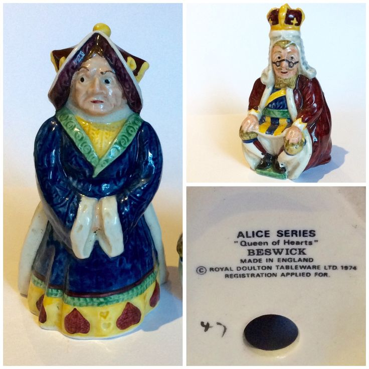 """Beswick Alice Series """"Queen of Hearts"""" and """"King of Hearts"""" Made in England, Royal Doulton Tableware Ltd, 1974"""