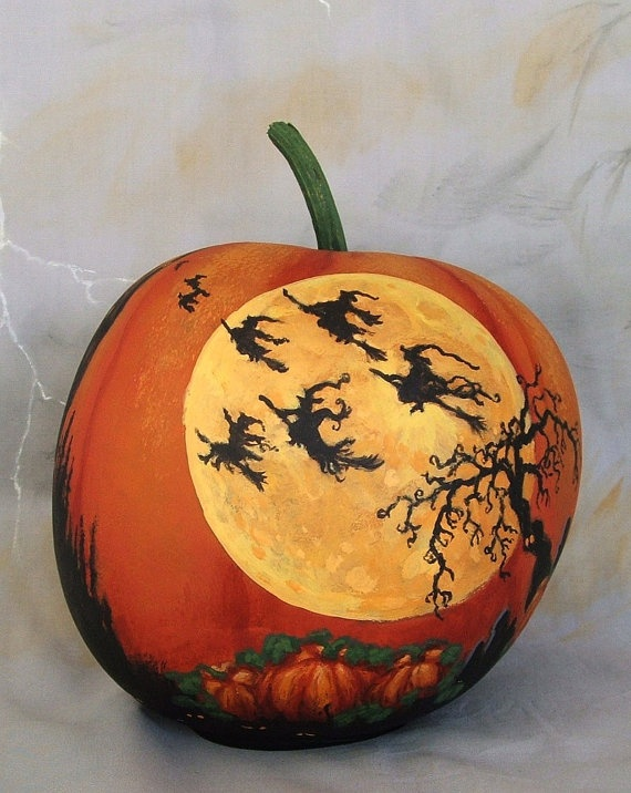 Across the Moon pumpkin gourd witches cemetery by SuzysSantas