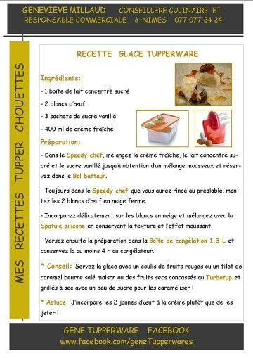 Tupperware - Recette glace