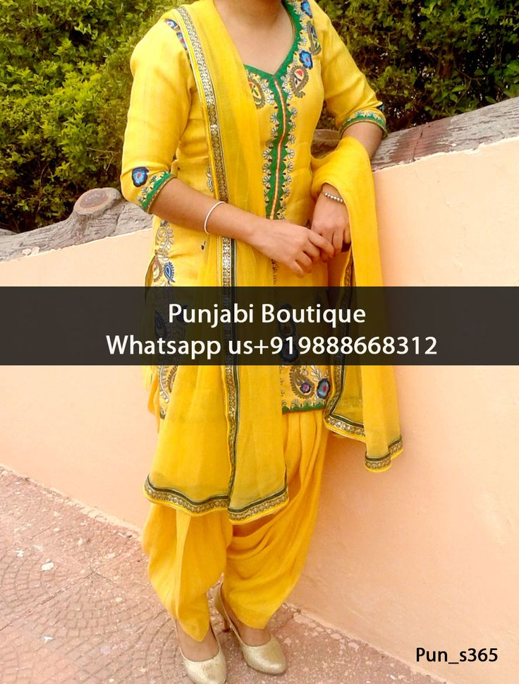 Stunning Yellow Embroidered Punjabi Suit Product Code: Pun_s365 To order this dress , please call or WhatsApp us at +919888668312 We can design this Punjabi Suit in any color combination or on any fabric (price may vary according to fabric)