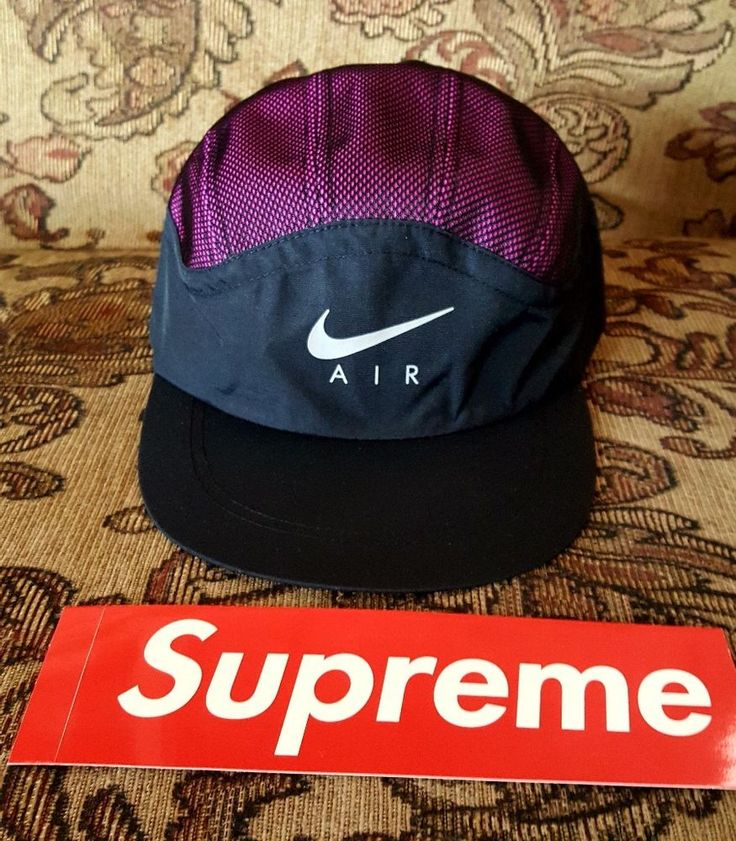 Supreme x Nike Trail Running Hat Pink with Classic Red Box logo sticker  #SupremeNike #Trailrunninghat
