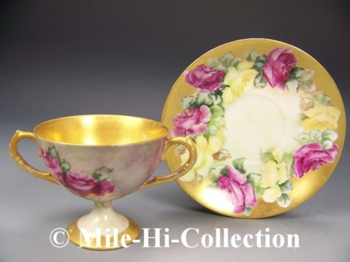 Limoges Hand Painted Roses Cup Saucer