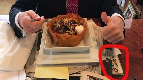 """Oh, The Donald. ICYMI, Donald Trump tweeted a photo Thursday afternoon enjoying a taco bowl, apparently in celebration of Mexico's victory in the Battle of Puebla. """"Happy   # CincoDeMayo ! The best taco bowls are made in Trump Tower Grill. I love Hispanics!"""" Trump tweeted. Seriously."""