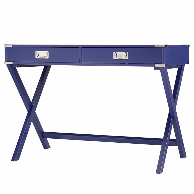 2 drawer blue campaign writing desk xlegs home office study living furniture home