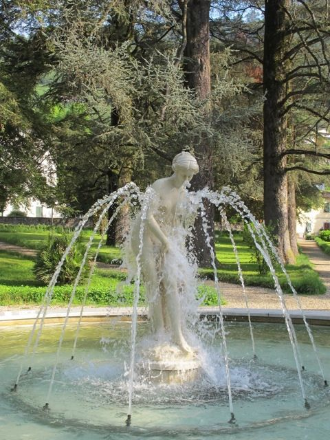 Statue in the park fountain in Bagni di Lucca, province of Lucca, Tuscany region of Italy