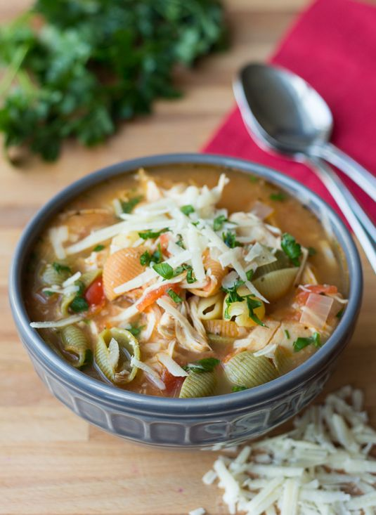 Healthy Slow Cooker Chicken Parmesan Soup