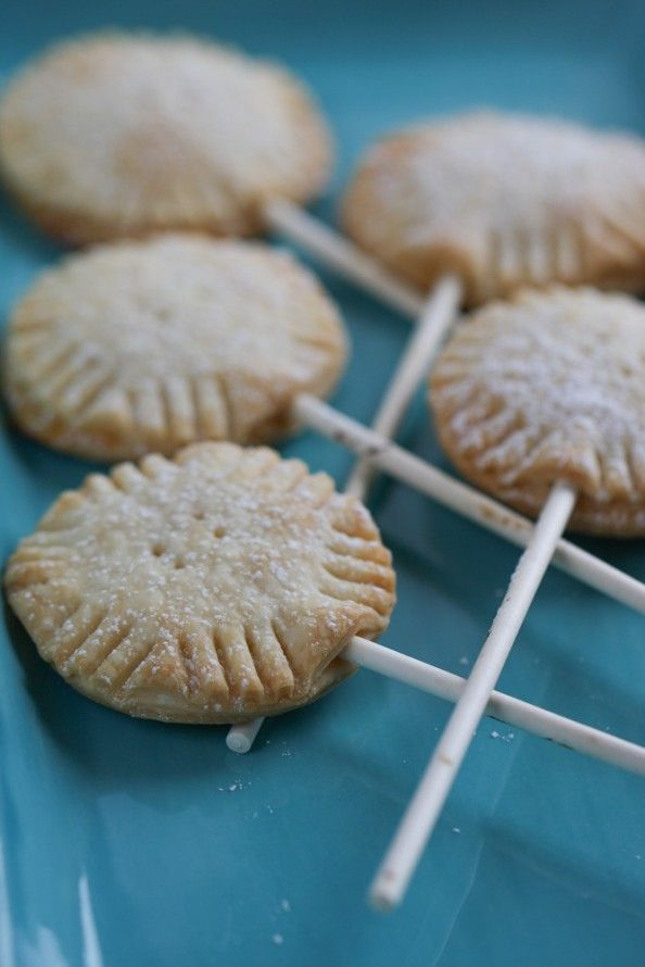 Lemon Pie Pops ....I like the mini pie idea, no need for the sticks unless you're doing them for a party....