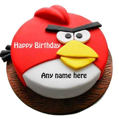 Happy Birthday Angry Bird Cake With Name. Red Angry Bird
