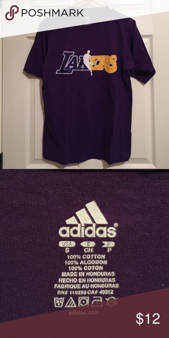 Lakers T-Shirt Perfect condition! It is a mens' small, but it fits like a ladies' medium. My items come from a smoke free/ pet free home. I discount bundles, and I'm open to offers. Adidas Shirts Tees - Short Sleeve