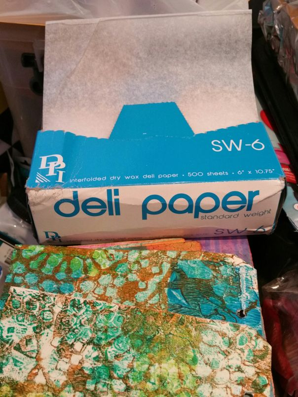 "Gelli Printing with Deli Paper! At last! As part of a job lot I purchased from Interweave (the people behind the mixed media mag Cloth Paper Scissors), I was able to get my grubby paws on the almost-mythical, legendary American ""Deli Paper"". The paper that American artists have been waxing lyrical about, pun intended."