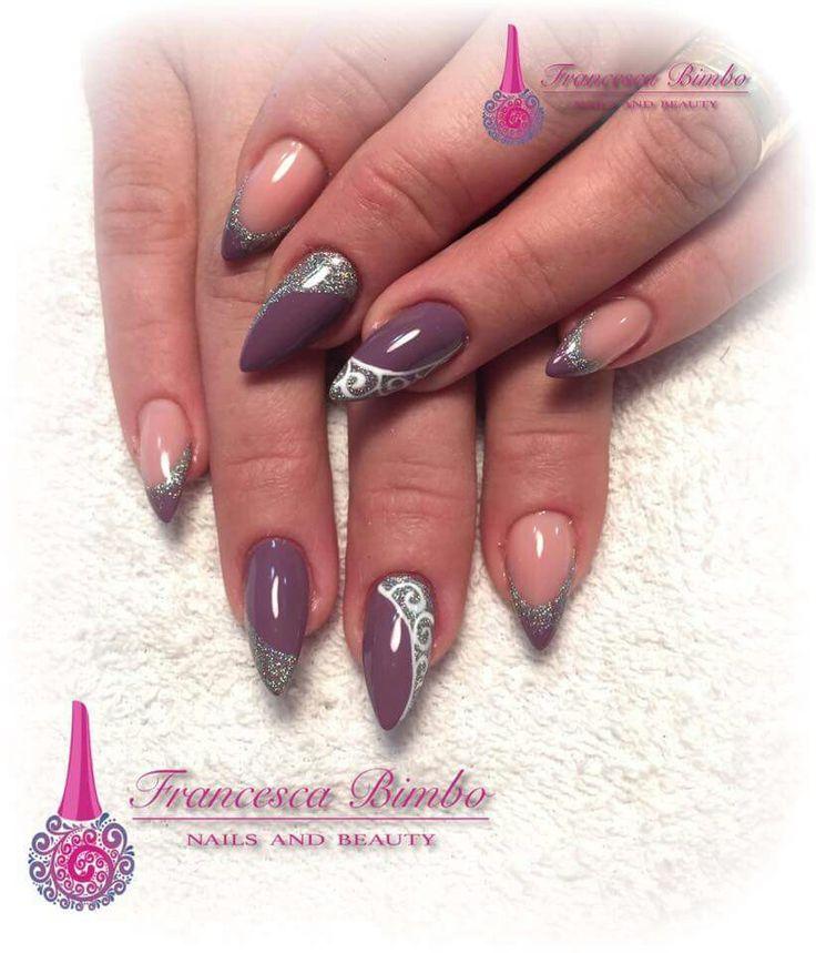 Viola violet French argento glitter ghirigori