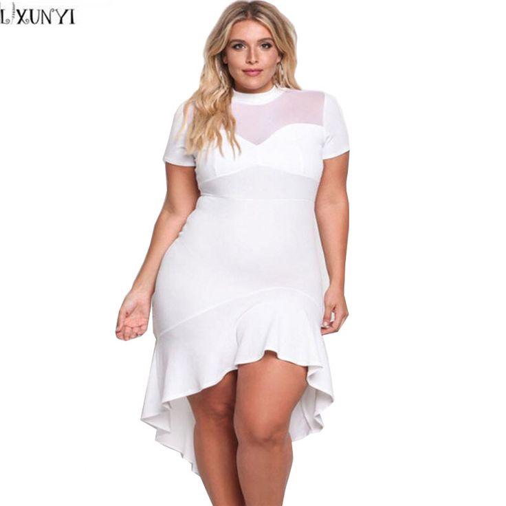 LXUNYI Woman Dress 2017 Summer Plus Size Elegant Mermaid Wiggle Pencil Dress Irregular Women Slim Sexy Plus Size Club Dresses #Affiliate