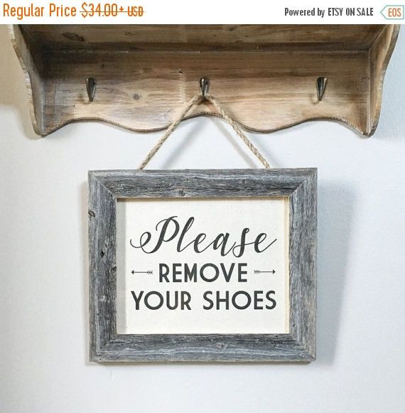 """SALE 12.5x10.5"""" Please Remove Your Shoes Sign - No Shoes Allowed - Rope Hanging Entryway Sign - Barnwood & Cotton Canvas - Reclaimed Wood"""