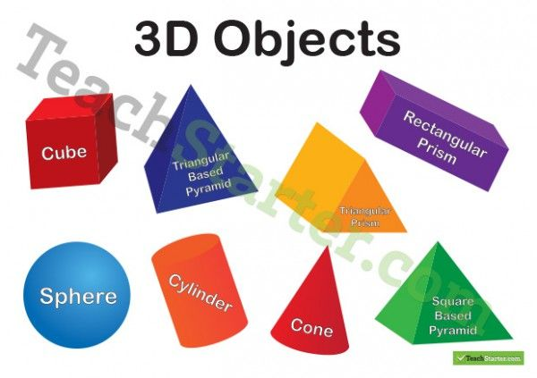 This poster includes 3D objects for a cube, sphere