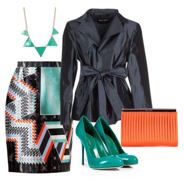 Туфли цвета морской волны, юбка со сложным принтом, пиджак темно-серого цвета, оранжевый клатч