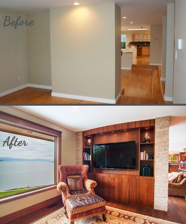 Before and After, Entertainment Unit, Stacked Stone Columns, Ocean Views, Mahogany Wood