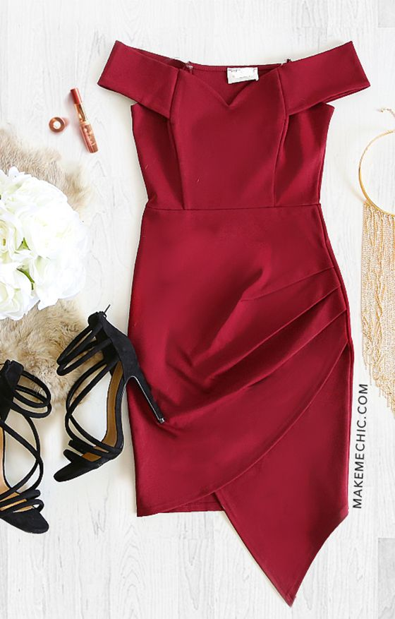 Asymmetrical Ruched Bodycon Dress RED