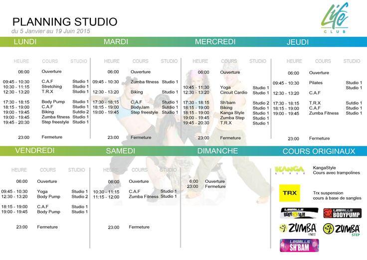 Voici le planning du 5 Janvier 2015 au 19 Juin 2015. Nouveau cours : Sh'bam et #Zumba step dans votre salle de sport.