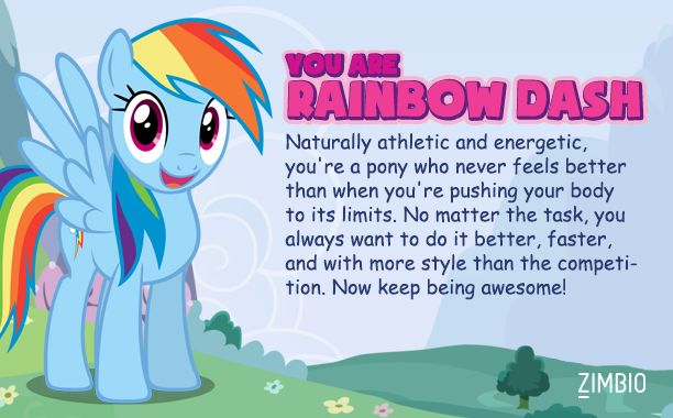 I'm Rainbow Dash! Which My Little Pony are you? #ZimbioQuiznull - Quiz