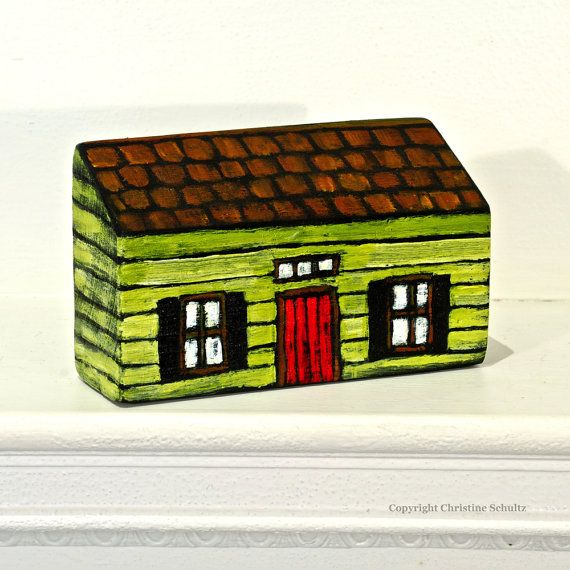 Little House Painted Green on Reclaimed Wood Block by TaylorArts