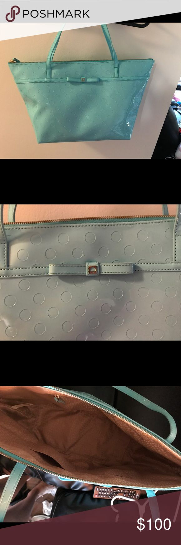 Kate Spate Teal Dot Tote Patent leather, easy to clean! kate spade Bags Totes