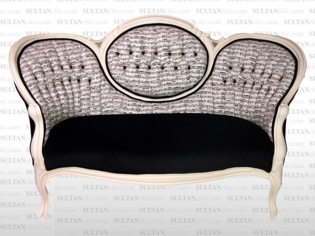 All upholstered furniture pieces featured here are one of a kind creations of artisan designer Albert Leon Sultan founder of WWW.SULTANCHIC.COM Please inquire if you'd like to purchase any piece featured here or to hire Albert to design your home.  #midcentury #retro #vintage #upholstery #wingchair #upcycle #couture #furniture #art #design #interiordesign #home #love #flower #pastel #sultanchic #chic #fashion #musicnote #victorian #settee #loveseat #sofa #blackandwhite