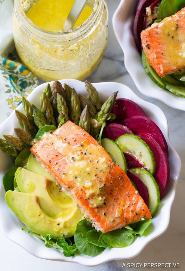 GF/Paleo Roasted Salmon Detox Salad Recipe that is so delicious you won't even notice how healthy it is! Baked salmon served over layers of veggies that detoxify.