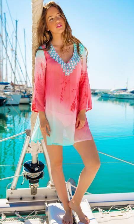 29c2c279aac Lindsey Brown Luxe Resortwear Palma Kaftan Ice Blue Coral-brownslingerie