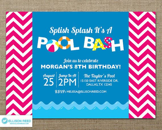 25 best ideas about Swim Party Invitations – Swim Party Invitations