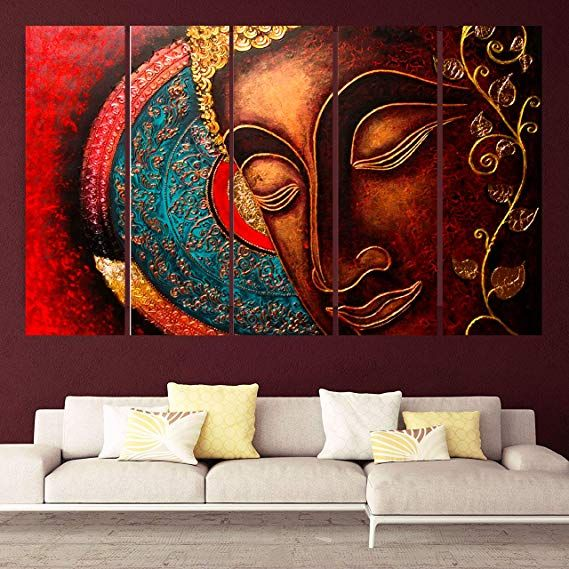 Kyara Arts Multiple Frames Beautiful Red Buddha Wall Painting For Living Room Bedroom Office H Buddha Wall Painting Wall Painting Wall Painting Living Room