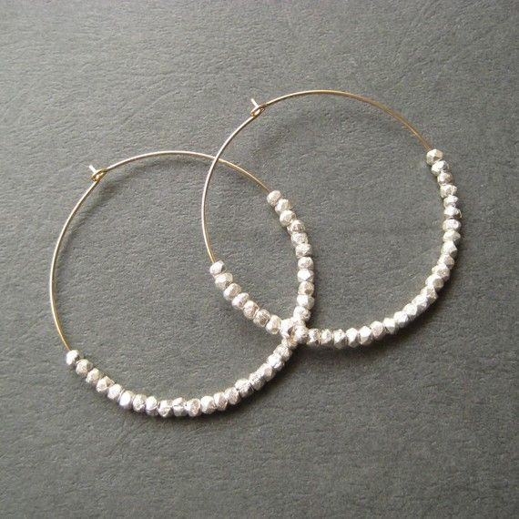Sterling Silver Nugget and Gold-Filled Hoop Earrings, $38.00, Julie Garland Jewelry via etsy.com