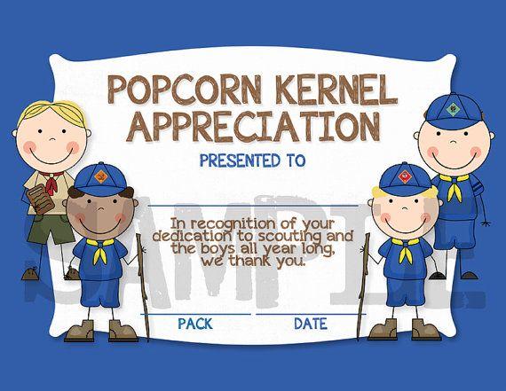 Cub Scouts Popcorn Kernel Appreciation by CapturedbyJessPrints, $5.00